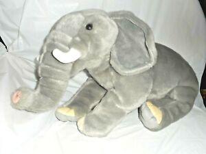 FAO Schwarz 2018 Gray Sitting Elephant Tusks Plush Stuffed Animal Jumbo Large