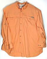 Columbia PFG UPF 30+ Orange Long Sleeve Button Vented Fishing Shirt Mens Sz 2XL