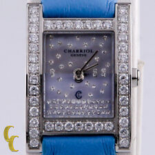 Women's Charriol Megeve Watch Diamond Bezel & Dial Quartz Blue Leather Band
