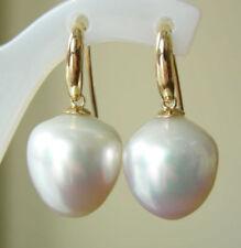 Pendientes perlas del mar del sur de oro amarillo