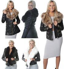 New Womens Ladies Black Jacket Faux Fur Collar Leather Effect PU Longline Coat