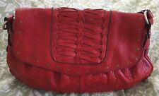 HAYDEN HARNETT Red Leather Flap Hobo Handbag Purse Bag-NEW