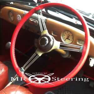 FITS MORRIS MINOR 1948-1971 LUXURY RED LEATHER STEERING WHEEL COVER