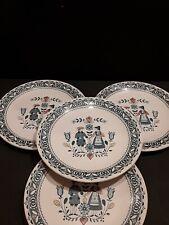 4 JOHNSON BROS STAFFORDSHIRE OLD GRANITE DINNER PLATES HEARTS/FLOWERS