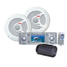 """*KIT* Pyle Marine 3"""" DVD/CD Stereo Player Receiver w/2 150W 6.5"""" Speakers/Cover"""