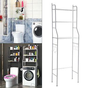 3 Tier Over Toilet Storage Rack Bathroom Laundry Washing Machine Shelf Rack UK
