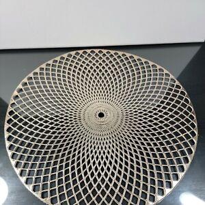 "Set Of 6 Vinyl Gold Metallic Round Placemats 15"" Modern Design"