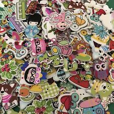 50 Mixed Wood Buttons Card Making Scrapbooking #998