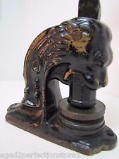 Antique Cast Iron Lion Head Figural Embosser Stamper Eureka Hall Asn Olyphant Pa