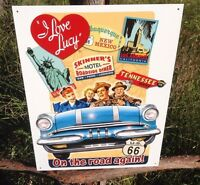 I LOVE LUCY On the Road Again Sign Tin Vintage Garage Bar Decor Old Rustic