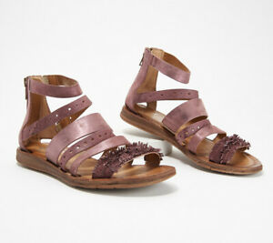Miz Mooz Leather Multi-Strap Sandals - Flora Plum EU 38