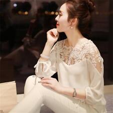 Summer Womens Long Sleeve Shirt Casual Lace Blouse Loose Chiffon Tops Shirt