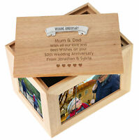 60th Diamond Wedding Anniversary Engraved Large Oak Keepsake Box 60 Years Gifts