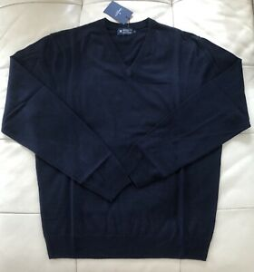 Size L Navy Blue Hackett London Wool, Silk and Cashmere V-neck Sweater Jumper