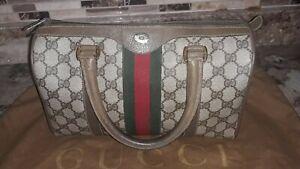 Vintage Gucci Brown Signature Logo Accessory Collection Boston Bag