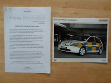 HONDA CIVIC 1.6i PS Police Car orig 2001 UK Mkt Press Release + Photo - Brochure
