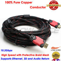 30ft Braided HDMI Cable V1.4 w/Ethernet 3D 4K For Bluray DVD HDTV XBOX LCD HD TV