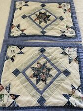 "VINTAGE Hand Quilted 8 Point Star QUILT Shams Set Of 2 29"" x 23"" standard #562"