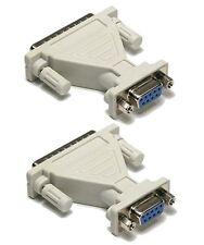 2x DB-9 Female to DB-25 Male DB9 F to DB25 M D-Sub Serial Adapter Converter