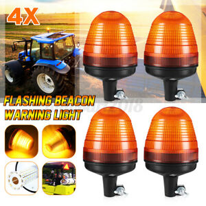 4pcs 60 LED Rotating Flashing Beacon Warning Light Din Pole Tractor Truck Amber