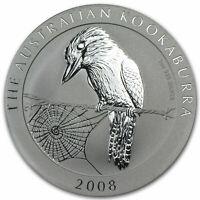 2008 Australian  KOOKABURRA 1 oz .999 silver coin  BU in a capsule