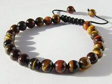 Men's Shamballa GEMSTONE  bracelet all 8mm  black cord TIGER EYE  beads