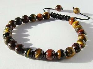 Men's GEMSTONE Macrame Beaded bracelet all 8mm black cord TIGER EYE beads