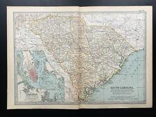 Antique Map Of South Carolina Charleston Beaufort Georgetown North America 1903