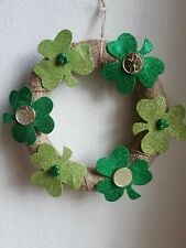 GREEN SHAMROCK SAINT PATRICKS DOOR WREATH WINDOW ARRANGEMENT