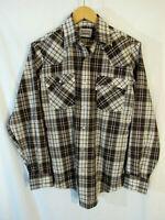 80s VTG Levi Strauss Western Plaid Snap Up Long Sleeve Shirt Sz M 60648-2598