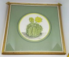 painting by Polly French Cactus Signed & Framed Gilded Frame 8.5 X 8.5