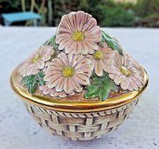 "Vintage Basket Weave Dish With Pink Daisies Gold Trim Around Lid 5.5"" Diameter"