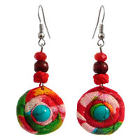 Boucles d'oreilles Femme Rond Tissu Coton Motifs ethnique Pierre bleu et rouge