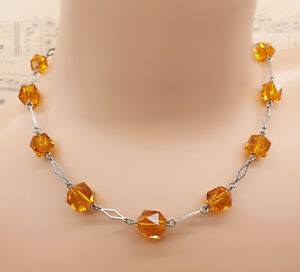 Vintage Art Deco 1930's 925 Sterling Silver and Amber Glass Bead Necklace