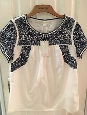 Monsoon Top Cotton Size 12 Navy Embroidery New
