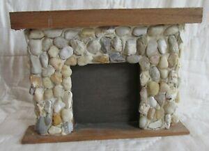 Vintage Miniature Dollhouse Fireplace Stone Front