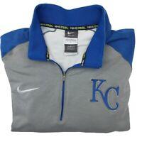 Nike BSBL Men's Large Gray Kansas City Royals Long Sleeve 1/4 Zip Polo Shirt