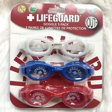 Lifeguard Kids Youth Swim Goggles 3 Pack Red White Blue Latex Free Adjustable