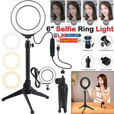 6'' LED Ring Light Dimmable Lighting Kit Phone Selfie Tripod Stand Lamp Live UK