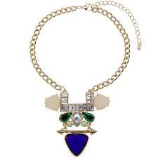 Statement Choker Necklace Geometric Pendant Gold Purple Green Modern Bib Chunky