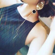 2 Way Fashion Long Asymmetry Metal Ball Pearl Stud Tassel Drop Dangle Earring