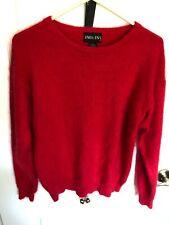 Women'S Uno & Una Super Soft Fuzzy Red Angora Sweater