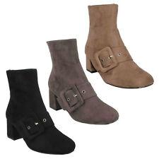 Ladies Spot on Blocked Heel Ankle BOOTS F50748 Grey UK 5 Standard