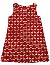 Girls Size 5 Holiday Christmas Reindeer Print Handmade Red White Dress Jumper