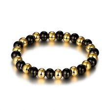 7mm Bead Bracelet 22CM 316L Stainless Steel Women Jewelry Gifts Gold&Black Color