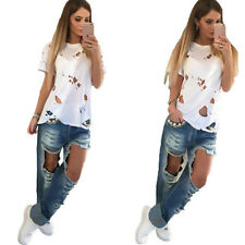 Women's Ripped Holes Plain Cap Sleeve Loose Fit Round Neck Basic T-Shirt Tops