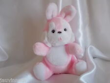 Doudou lapin, rose et blanc, grelot,, Nounours