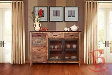 Rustic Anthony Multicolor Buffet 6 Drawers, 2 Mesh Doors Western Style