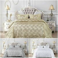 Luxury Jacquard shimmer Glitter Quilted Bedspread Comforter Throw Bedding Set