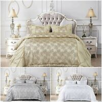Jacquard Glitter Quilted Bedspread Comforter Throw Bedding Set + Pillow Shams